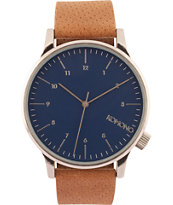 Komono Winston Blue Cognac Analog Watch