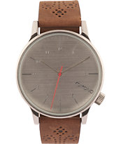 Komono Winston Brogue Walnut Analog Watch