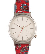 Komono Wizard Red Paisley Print Watch