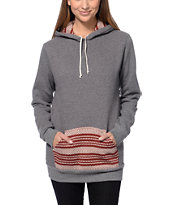 Krochet Kids Grey & Burgundy Crochet Pocket Pullover Hoodie