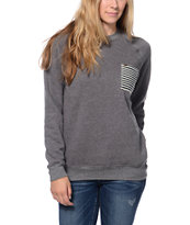 Krochet Kids Grey & Navy Pocket Crew Neck Sweatshirt