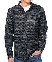 LRG Artek Black Print Long Sleeve Button Up Shirt