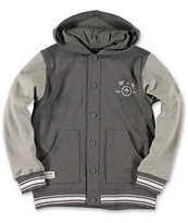 LRG Boys Bullworks Charcoal Grey Fleece Varsity Hoodie