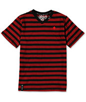 LRG Boys CC YD Red Stripe V-Neck T-Shirt