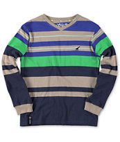 LRG Boys Equilibrium Grey Striped Long Sleeve V-Neck Shirt