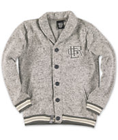 LRG Boys Marksman Grey & White Shawl Neck Cardigan Sweater