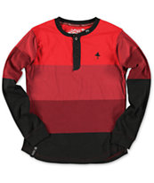 LRG Boys Retro Eternity Red Long Sleeve Henley Shirt