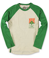 LRG Boys Sun Shower Cream & Green Baseball Tee Shirt