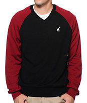 LRG CC Black & Red Raglan V-Neck Sweater