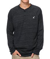 LRG CC Black Slub Raglan Henley Shirt