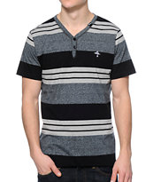 LRG CC Black Stripe Y-Neck Henley Tee Shirt