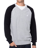 LRG CC Grey & Black Raglan V-Neck Sweater