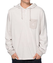 LRG CC Grey & White Striped Pullover Hooded Henley Shirt