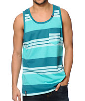 LRG CC Heather Teal Striped Pocket Tank Top
