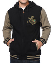 LRG Cult Classic Black & Olive Letterman Zip Up Hoodie