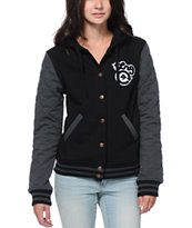 LRG Girls Dethroned Black & Grey Varsity Jacket