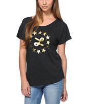 LRG Girls Gold Core Logo Black Dolman Tee Shirt