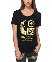 LRG Girls Gold Icons Black Boyfriend Fit Tee Shirt