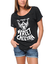 LRG Girls Street Cheetah Charcoal Dolman Tee Shirt