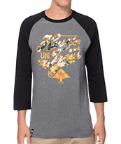 LRG Hustle Trees Grey & Hawaiian Print Baseball Tee Shirt