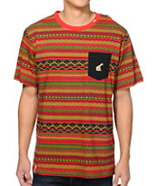 LRG Lion Rock Red Pocket Tee Shirt