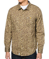 LRG Savage Safari Giraffe Button Up Long Sleeve Shirt