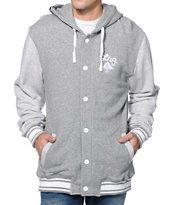 LRG Still Find Time Charcoal Hooded Fleece Varsity Jacket