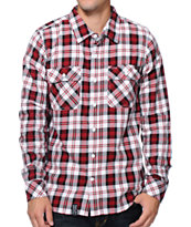 LRG Track And Feel White & Red Long Sleeve Flannel Shirt