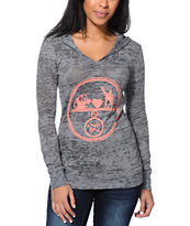 LRG Women's Animal Love Grey Burnout Hooded Shirt
