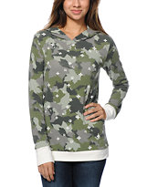LRG Women's Stick It Green Camo Print Pullover Hoodie