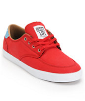 Lakai x The Quiet Life Belmont Red & White Canvas Skate Shoe