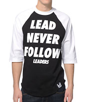 Leaders 1354 Lead Black & White Baseball Tee Shirt