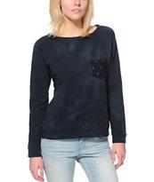 Lira Acid Wash Crosses Pocket Black Crew Neck Sweatshirt