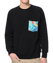 Lira Birds Black Crew Neck Pocket Sweatshirt