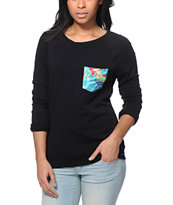 Lira Birds Pocket Black Crew Neck Sweatshirt