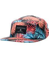 Lira Black & Blue Leaf Print 5 Panel Hat