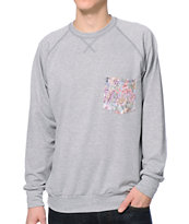 Lira Botanic Heather Grey Crew Neck Pocket Sweatshirt
