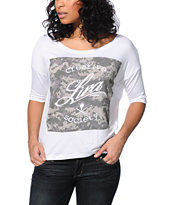 Lira Camo Box White Scoop Neck Tee Shirt