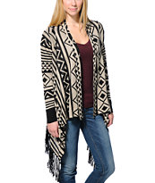 Lira Coco Black & White Fringe Wrap Sweater