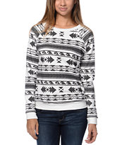 Lira Desert Dusk White Tribal Print Crew Neck Sweatshirt
