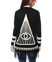 Lira Girls All Seeing Black Fringe Wrap Sweater