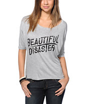 Lira Girls Beautiful Disaster Grey Scoop Neck Tee Shirt