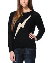 Lira Girls Bolts Black Knit Sweater