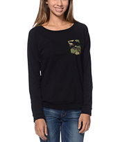 Lira Girls Camo Pocket Black Crew Neck Sweatshirt
