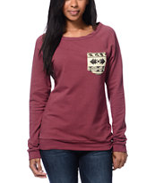 Lira Girls Desert Dusk Maroon Pocket Crew Neck Sweatshirt