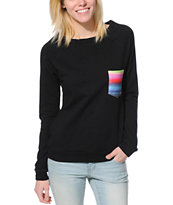 Lira Girls Flag Pocket Black Crew Neck Sweatshirt