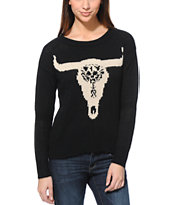 Lira Girls Longhorn Black Knit Sweater