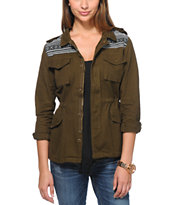 Lira Girls Off Duty Aztec Olive Canvas Jacket