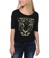 Lira Girls Spotted Black Tee Shirt