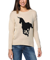 Lira Girls Unicorn Ivory Knit Sweater